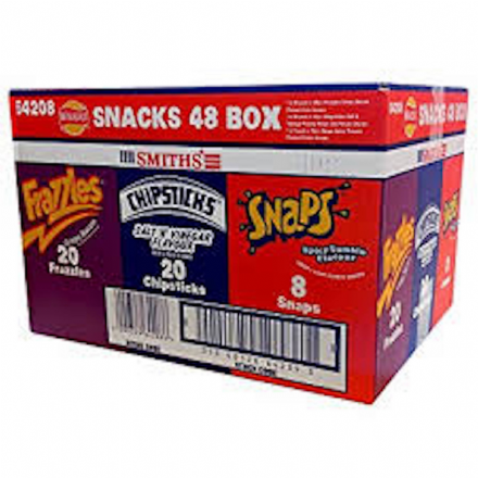 Walkers Smith's 48 Pack Variety Box, Frazzels, Chipsticks & Snaps